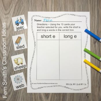 Vowel Sorting - Short e and Long e Center Games, Printables and More