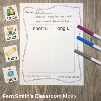 Vowel Sorting - Short u and Long u Center Games, Printables and More