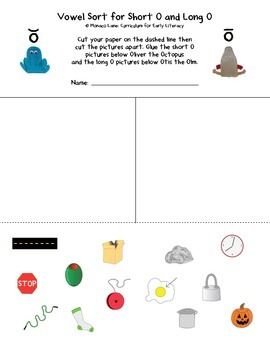Vowel Sorts: Short vs Long (Pictures)