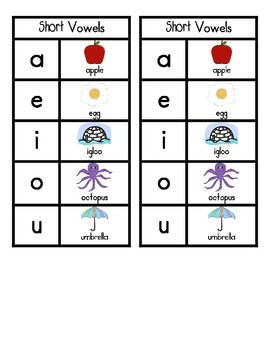 Vowel Sound Charts for Individual Students