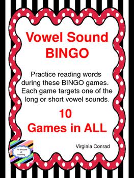 Vowel Sound BINGO Games---10 in All