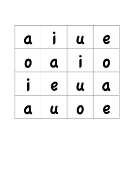 Vowel Sound Bingo ~ Vowel Sounds