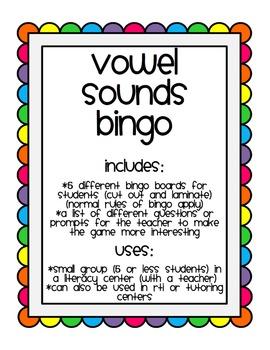 Vowel Sound Bingo ~ Vowel Sounds