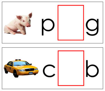 Vowel Sound Cards for Printable Moveable Alphabet PRINT - Black/Red