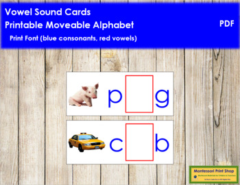 Vowel Sound Cards for Printable Moveable Alphabet PRINT - Blue/Red
