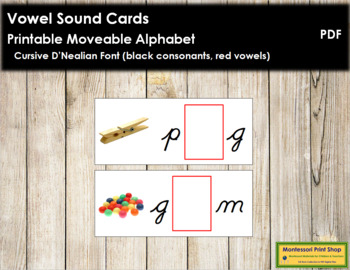 Vowel Sound Cards for Printable Moveable Alphabet CURSIVE - Black/Red