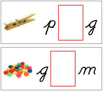 Vowel Sound Cards for Printable Moveable Alphabet CURSIVE - Black/Red