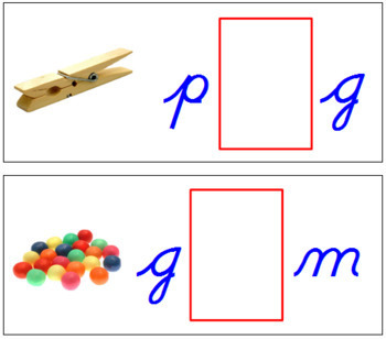 Vowel Sound Cards for Printable Moveable Alphabet CURSIVE - Blue/Red