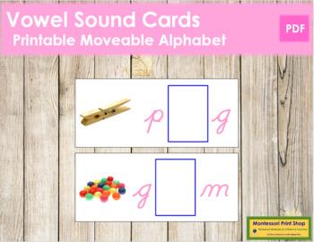 Vowel Sound Cards for Printable Moveable Alphabet CURSIVE