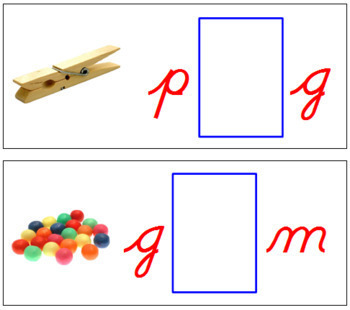 Vowel Sound Cards for Printable Moveable Alphabet CURSIVE - Red/Blue