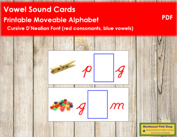 Vowel Sound Cards for Printable Moveable Alphabet CURSIVE - Red/Blue