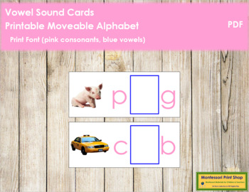 Vowel Sound Cards for Printable Moveable Alphabet PRINT - Pink/Blue