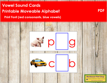 Vowel Sound Cards for Printable Moveable Alphabet PRINT - Red/Blue