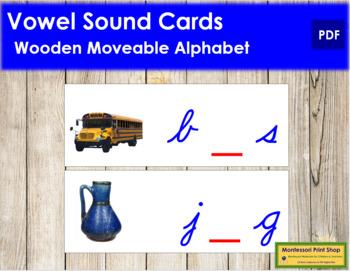 Vowel Sound Cards for Wood Moveable Alphabet CURSIVE - Blue/Red