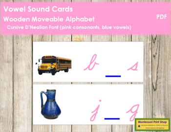 Vowel Sound Cards for Wood Moveable Alphabet CURSIVE - Pink/Blue