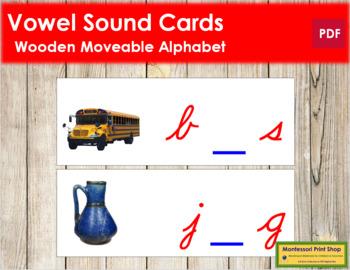 Vowel Sound Cards for Wood Moveable Alphabet CURSIVE - Red/Blue