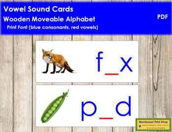Vowel Sound Cards for Wood Moveable Alphabet PRINT - Blue/Red