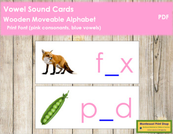 Vowel Sound Cards for Wood Moveable Alphabet PRINT - Pink/Blue
