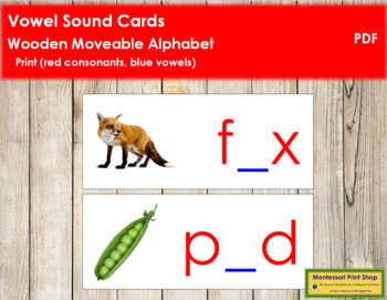 Vowel Sound Cards for Wood Moveable Alphabet PRINT - Red/Blue