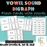Vowel Sound Digraph Flash Cards with Words and Reference Charts
