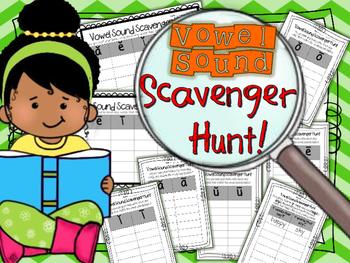 Vowel Sound Scavenger Hunt - Word Work - Short Vowel - Long Vowel