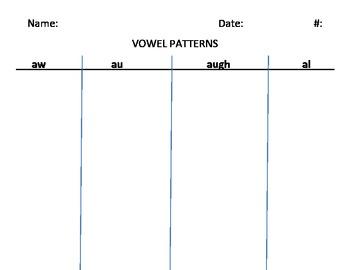 Vowel Sound Sort (aw, au, augh, al)