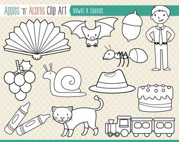 Vowel Sounds 'A' Clip Art - color and outlines