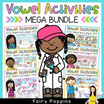 Short Vowels, Long Vowels, R Influenced Vowels  BUNDLE (Games & Worksheets)