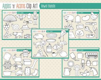 Vowel Sounds Clip Art Bundle - color and outlines
