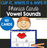 Vowel Sounds Clip, Write & Wipe Phonics Cards {40 Cards}