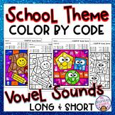 Vowel Sounds Color By Code: School Theme