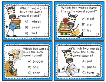 """Vowel Sounds Game - Long/Short, """"R"""" Controlled, & Double Vowels - 40 Task Cards!"""