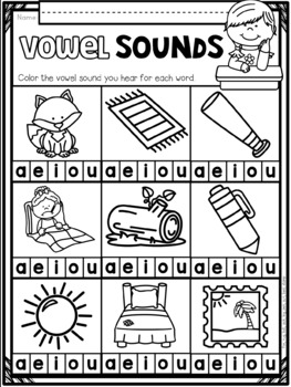 Vowel Sounds ~ Introductory Phonics and Pre-Reading Skills ~ Printables