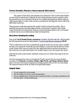Vowel Sounds Phonics Assessment