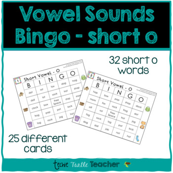 Vowel Sounds (Short O) Bingo - 25 Different Game Cards