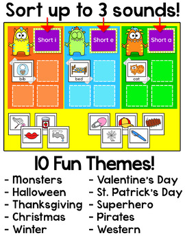 Vowel Sounds Sorting Game - Long Vowels & Short Vowels - Monsters Theme