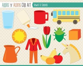 Vowel Sounds 'U' Clip Art - color and outlines