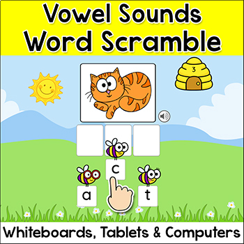 Vowel Sounds Spelling Game - Long Vowels & Short Vowels - Smartboards & Tablets