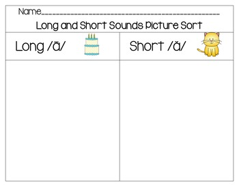 Vowel Sounds Word Work Set- Long A/Short A