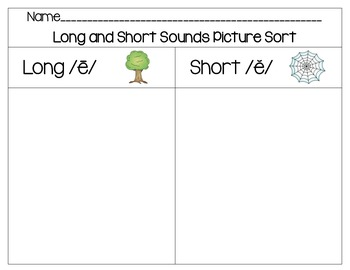 Vowel Sounds Word Work Set- Long E/Short E