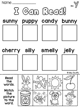 vowel sounds of y worksheets activities no prep by miss giraffe. Black Bedroom Furniture Sets. Home Design Ideas