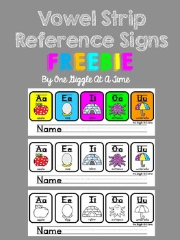 Vowel Strip Reference Signs FREEBIE