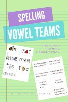 Vowel Team Buddies Flashcards - Visual Learning Through Pictograms