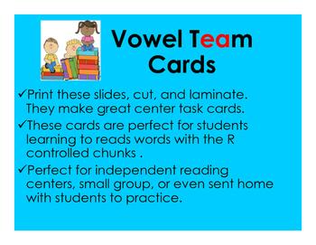 Vowel Team Cards