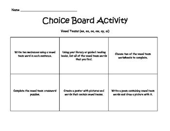 Vowel Team Choice Board