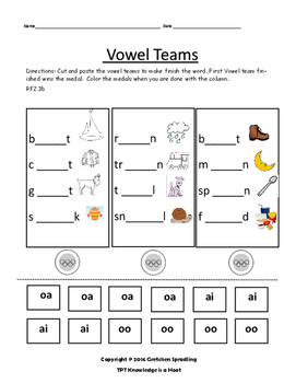 Vowel Team Cut and Paste Worksheets
