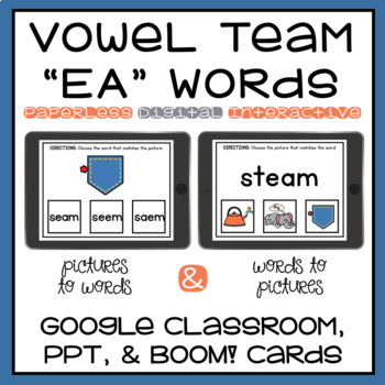 Long E Spelled EA Vowel Team Digital Activity Google, PowerPoint, Boom Cards