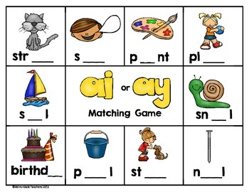 Vowel Team Long A Matching Game ai or ay