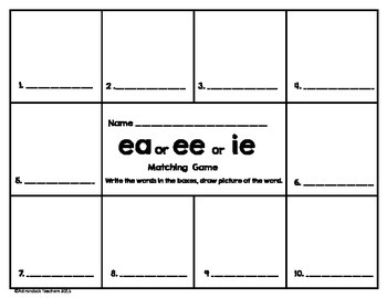 Vowel Team Long E Matching Game ee,ea or ie