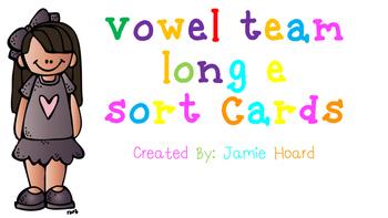 Vowel Team Long E sort cards